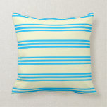 [ Thumbnail: Light Yellow and Deep Sky Blue Colored Lines Throw Pillow ]