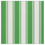 [ Thumbnail: Light Yellow and Forest Green Lines Pattern Fabric ]