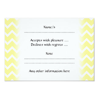 Light Yellow and White Zigzags. 3.5x5 Paper Invitation Card