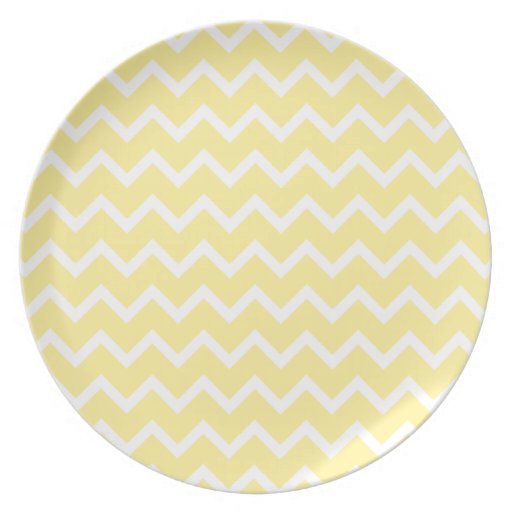 Light Yellow and White Zigzags. Party Plate