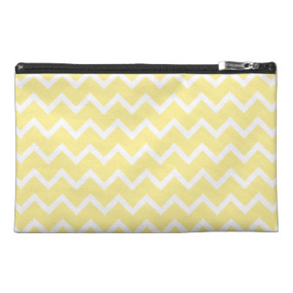 Light Yellow and White Zigzags. Travel Accessory Bag