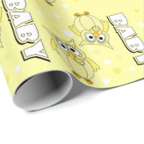 Light Yellow Baby Polka Dot Owls Wrapping Paper