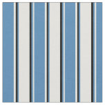 [ Thumbnail: Light Yellow, Blue, and Black Stripes Fabric ]