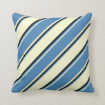 [ Thumbnail: Light Yellow, Blue, and Black Stripes Throw Pillow ]