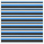[ Thumbnail: Light Yellow, Blue & Black Stripes/Lines Pattern Fabric ]