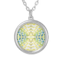 Light Yellow Blue Circular Artistic Pattern Silver Plated Necklace