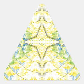 Light Yellow Blue Circular Artistic Pattern Triangle Sticker