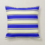 [ Thumbnail: Light Yellow, Blue & Dark Khaki Pattern Pillow ]