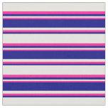 [ Thumbnail: Light Yellow, Blue & Deep Pink Stripes Fabric ]