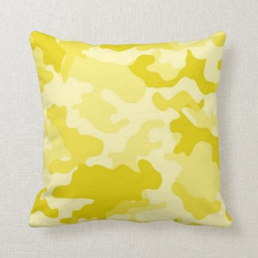 Light Yellow Camo Throw Pillow