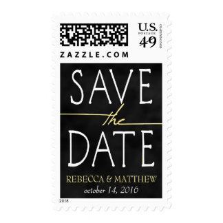 Light Yellow Chalkboard Save the Date Postage