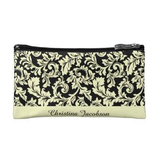 Light Yellow Damask on Black Elegant and Feminine Makeup Bag