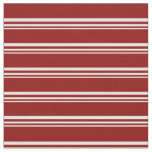 [ Thumbnail: Light Yellow & Dark Red Colored Stripes Fabric ]