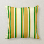 [ Thumbnail: Light Yellow, Goldenrod & Green Colored Pattern Throw Pillow ]