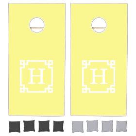 Light Yellow Greek Key Frame #2 Initial Monogram Cornhole Sets