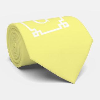 Light Yellow Greek Key Frame #2 Initial Monogram Neck Tie