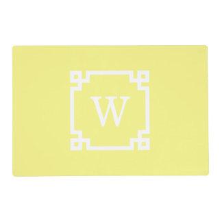 Light Yellow Greek Key Frame #2 Initial Monogram Placemat