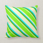 [ Thumbnail: Light Yellow, Green, Forest Green, and Cyan Lines Throw Pillow ]