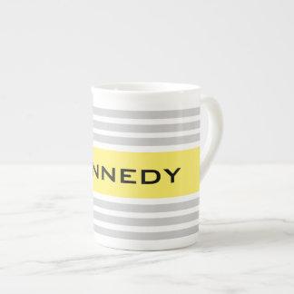 Light Yellow & Grey Stripes & Custom Monogram Tea Cup