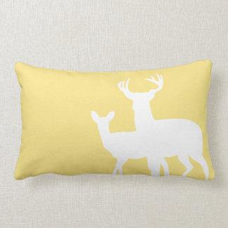 Light Yellow Male Female Deer Pillow