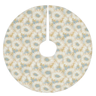 Light Yellow Mellow Floral Pattern Brushed Polyester Tree Skirt