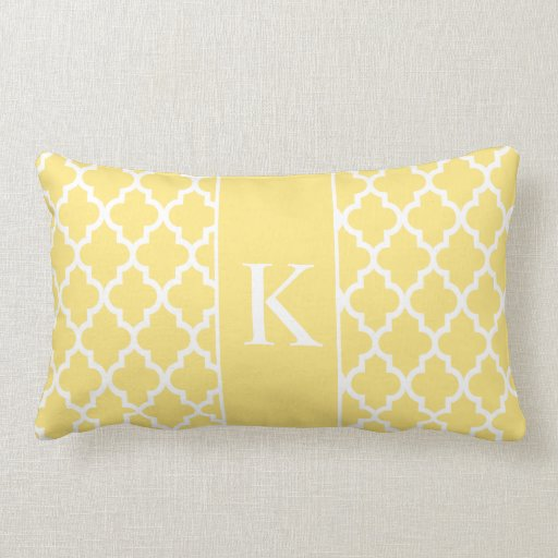 Light Yellow Moroccan Custom Monogram Pillow