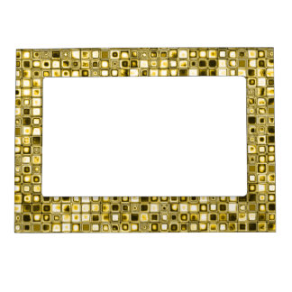 Light Yellow 'Popcorn' Textured Grid Pattern Picture Frame Magnet