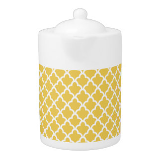 Light Yellow Quatrefoil Teapot