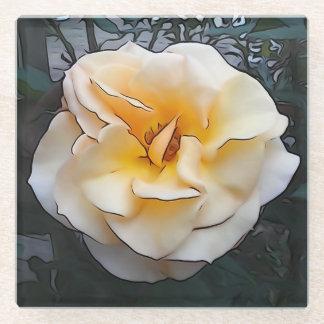 Light Yellow Rose Glass Coaster