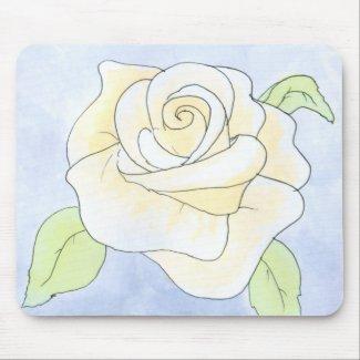 Light Yellow Rose. Watercolor. Custom mousepad