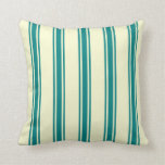 [ Thumbnail: Light Yellow & Teal Lines Throw Pillow ]