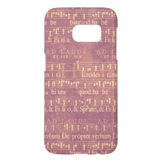 Light Yellow Vintage Music on Pastel Purple Samsung Galaxy S7 Case