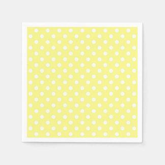 Light Yellow White Polka Dots Pattern Napkin