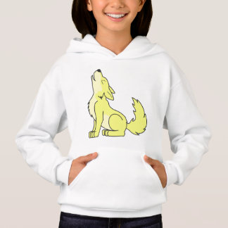 Light Yellow Wolf Pup Howling Hoodie
