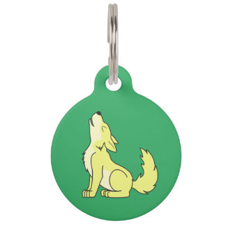 Light Yellow Wolf Pup Howling Pet ID Tag