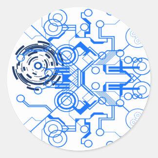 lightblue circuitboard flowchart classic round sticker