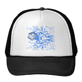 lightblue circuitboard flowchart trucker hat