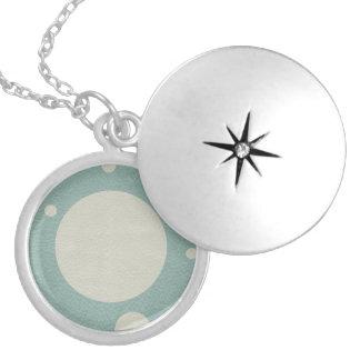 LightBlue & Stone Spots on leather print Locket Necklace