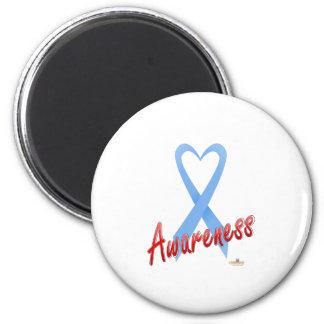 LightBlueHeartRibbonAwareness Imán Redondo 5 Cm