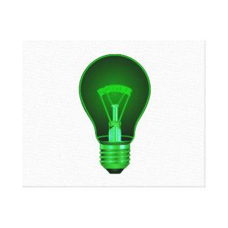 lightbulb glowing green power filament.png canvas print