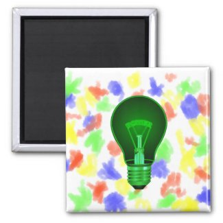 lightbulb glowing green power filament.png refrigerator magnets