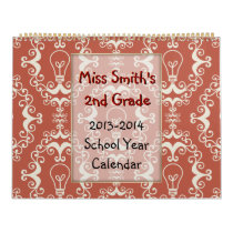 Lightbulb Lg School Year Calendar with lined pages