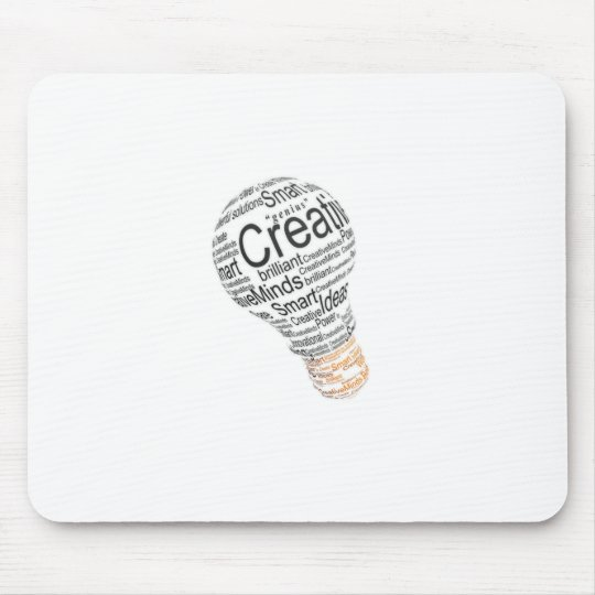 lightbulb with typography celebrating creativity mouse pad