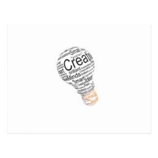 lightbulb with typography celebrating creativity postcard
