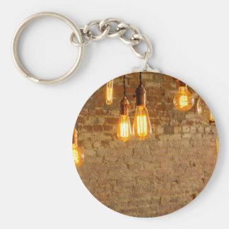 Lightbulbs Background Basic Round Button Keychain