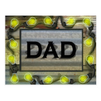 Lightbulbs Crackled Paint Aluminum Dad Marquee Postcard