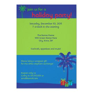 Lighted Coconut Tree Hawaiian Holiday Party Invita Card