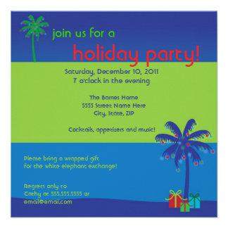 Lighted Coconut Tree Hawaiian Holiday Party Invite