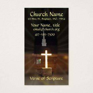 Lighted Cross Log Church Cards- customize Business Card
