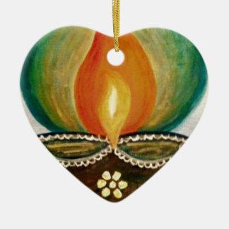 lighted diya ceramic ornament